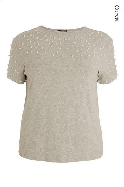 Curve Grey Embellished T Shirt